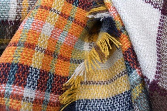 Bruine dames shawl geruit Omslagdoek Bruin Geblokt Vierkante sjaal - Scarfz