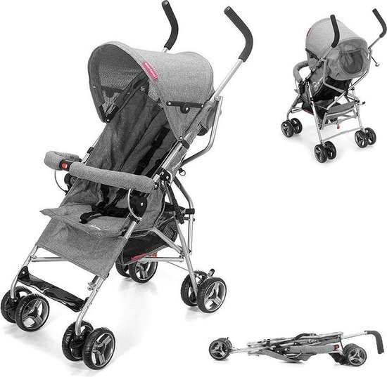Product: Moby System Buggy Barton Grijs - Kinderwagen - paraplu buggy - Plooibuggy, van het merk Moby-System