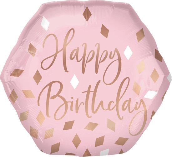 Amscan Folieballon Happy Birthday Meisjes 58 Cm Roze