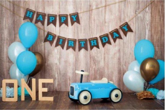 Verjaardag - Versiering - Wanddoek - Banner van Polyester - 120cm (Breed) x 80cm (Hoog) - 1 jaar - Jongen