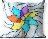 Buitenkussens - Tuin - Een illustratie van een windmolen in gekleurd glas - 50x50 cm