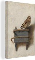 Puttertje - Schilderij van Carel Fabritius canvas 2cm 20x30 cm - klein - Foto print op Canvas schilderij (Wanddecoratie woonkamer / slaapkamer)