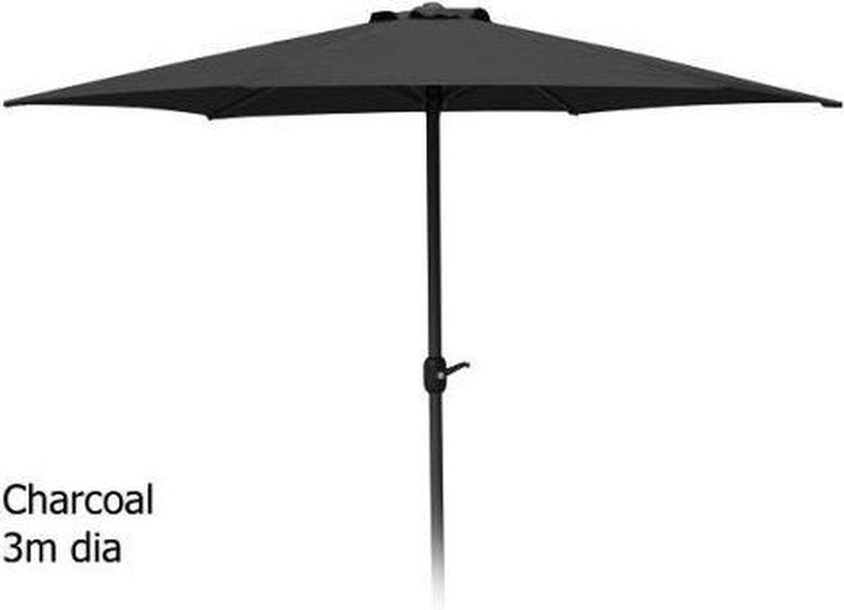 Parasol Grijs - Aluminium standaard met opdraaimechanisme - 3 meter - Ambiance