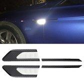 2 STKS Koolstofvezel Auto-Styling Spatbord Reflecterende Bumper Decoratieve Strip, Binnenreflectie + Externe Koolstofvezel (Wit)
