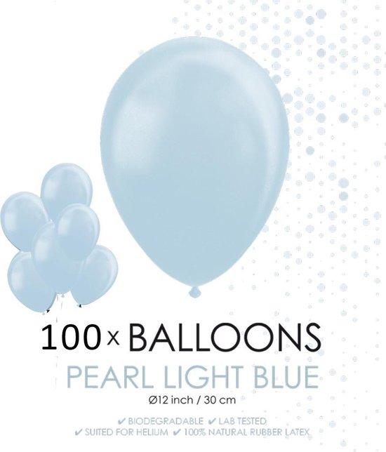 100 Parel lichtblauwe ballonnen 30 cm.