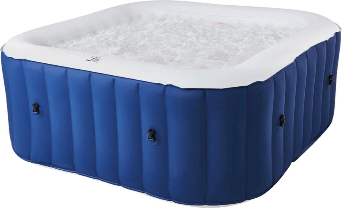 Opblaasbare jacuzzi voor 4 volwassenen - Verwarmde hottub met bubbels - Spa - Bubbelbad - Inclusief afstandsbediening, grondzeil, afdekzeil, schoonmaak filter, opbergtas, aansluitstuk en ingebouwde pomp -