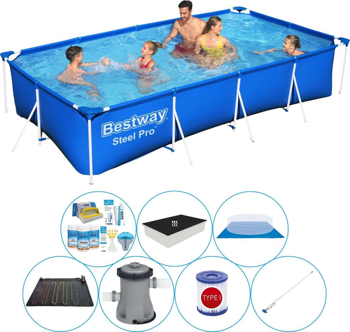 Zwembad Combinatie Deal - Bestway Steel Pro Rechthoekig 400x211x81 cm