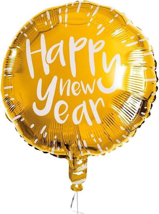 Boland Folieballon Happy New Year 45 Cm Goud/wit