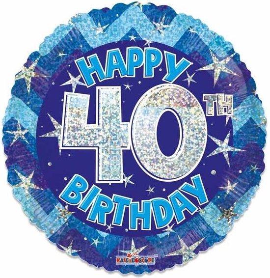 Witbaard Folieballon Holographic 40 Jaar 46 Cm Blauw