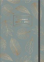 Hobbit schoolagenda 2021-2022 - A4 D4 - elastiek - gebonden met linnen rug - rugloos - 7 dagen over 2 pagina's - harde kaft met zacht effect - 144 pagina's - grijsgroen - groot A4 formaat
