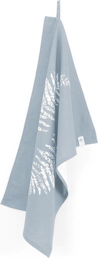 Walra Theedoek Dry with Leaves - 50x70 - 100% Katoen - Jeans Blauw