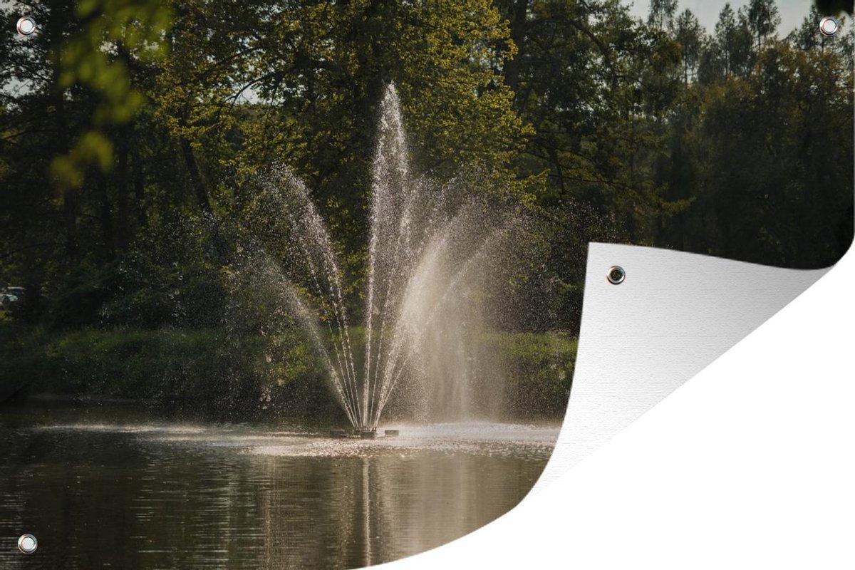 Tuinposter Fontein - Waterfontein 90x60 cm - Tuindoek/Buitencanvas/Schilderijen voor buiten (tuin decoratie)