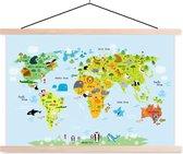 MuchoWow Schilderij - Textielposter/Hout - Kinder Wereldkaart -  90x60cm