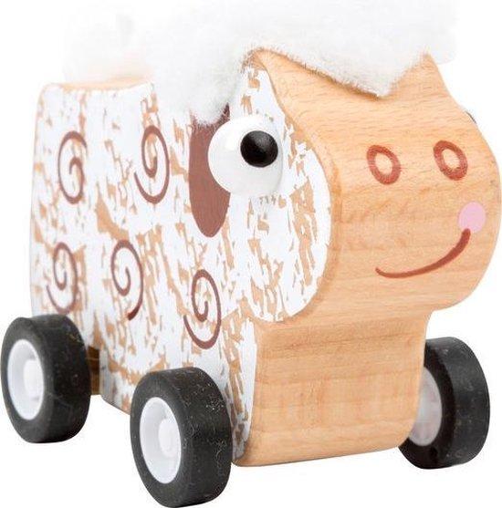 houten speelgoed autootjes Schaap auto terugtrek auto FSC Auto speelgoed houten speelgoed vanaf 3 jaar