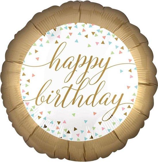 Folieballon 'Happy Birthday' Confetti - 46 centimeter