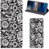 Sony Xperia 10 Smart Cover Black Flowers