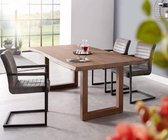 Massief houten tafel Live-Edge Acacia bruin 200x100 boven 5,5 cm roest optische tafel breed boomtafel.