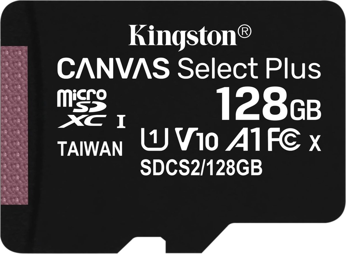 Kingston Canvas Select Plus microSD Card 10 UHS-I - 128GB - inclusief SD adapter