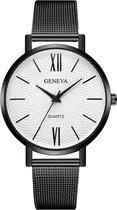 Geneva Roman Mesh Horloge - Zwart - Staal - Ø 38 mm