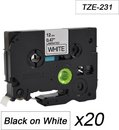20x Tze-231 TZ231 Compatible voor Brother P-touch Label Tapes- Zwart op Wit - 12mm