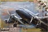 Wanddecoratie Vliegtuig  | 120*80*7 cm | Meerkleurig | Ijzer | Rechthoek | Vliegtuig | Clayre & Eef | JJWA00026