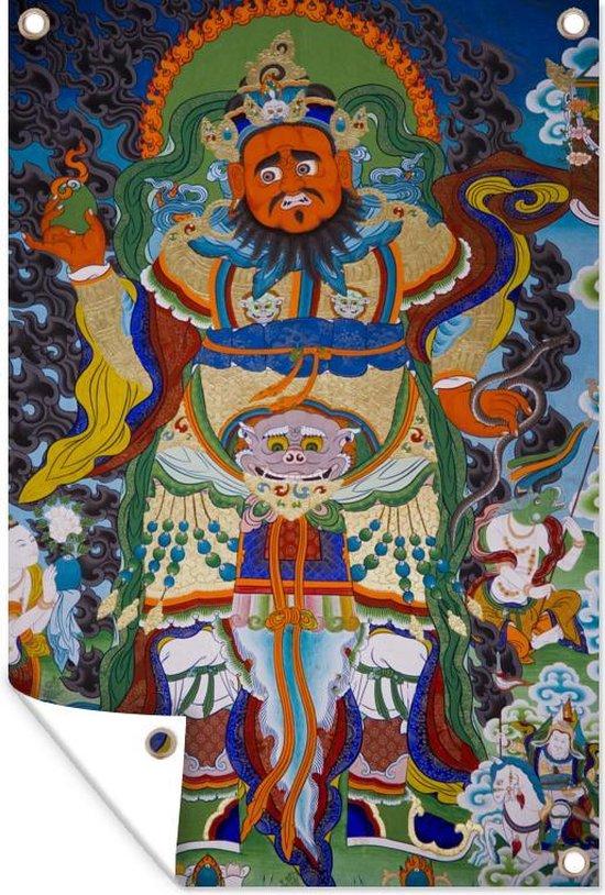 Tuinposter Chinese mythologie - Wandschildering in tempel 40x60 cm - Tuindoek/Buitencanvas/Schilderijen voor buiten (tuin decoratie)