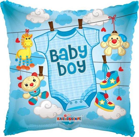 Helium Ballon Vierkant Geboorte Baby Boy 45cm leeg
