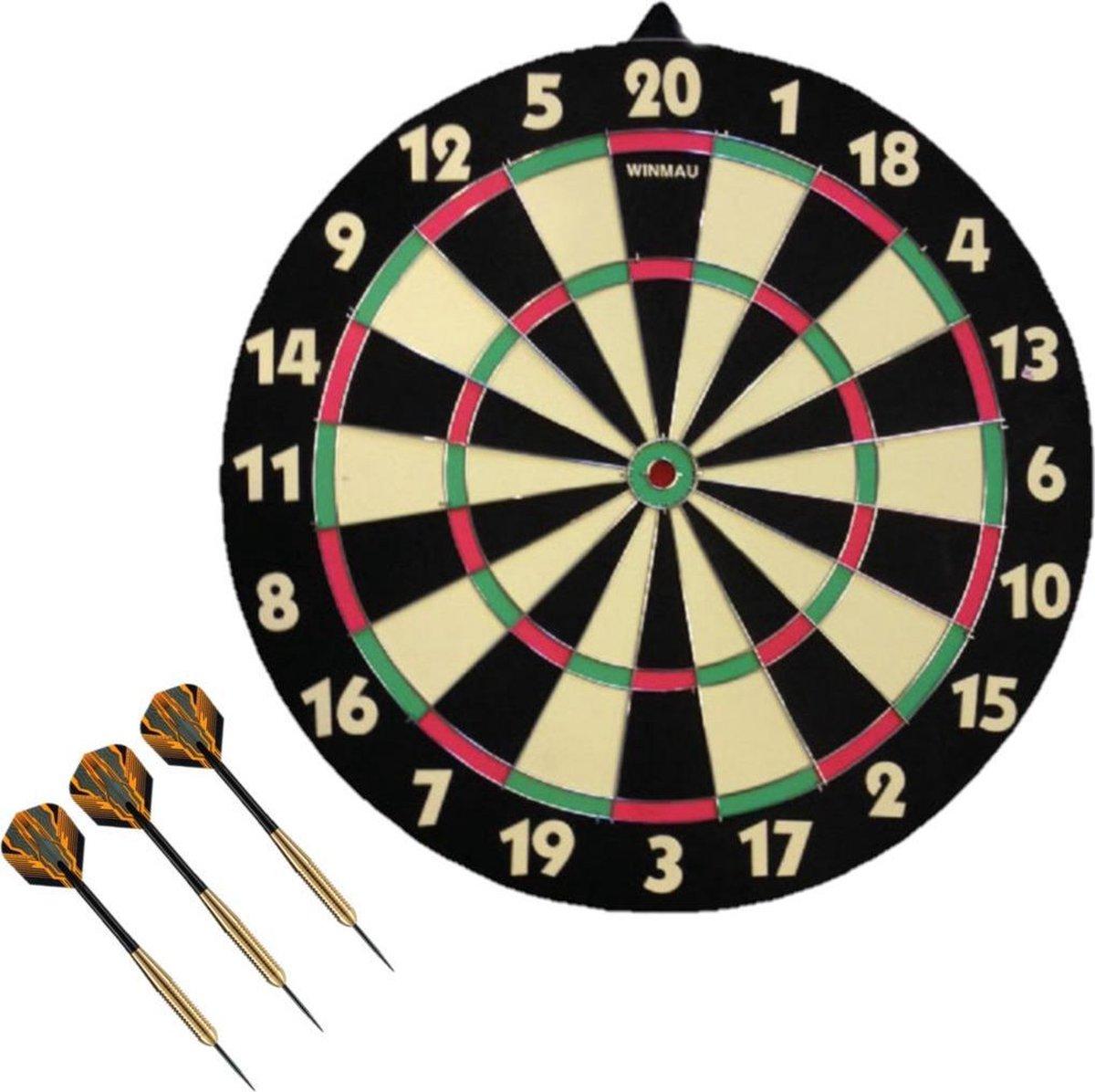 Dartbord dubbelzijdig 42 cm voor kinderen met 3x dartpijltjes van 19 gram - Dubbelzijdig, achterkant is schietschijf