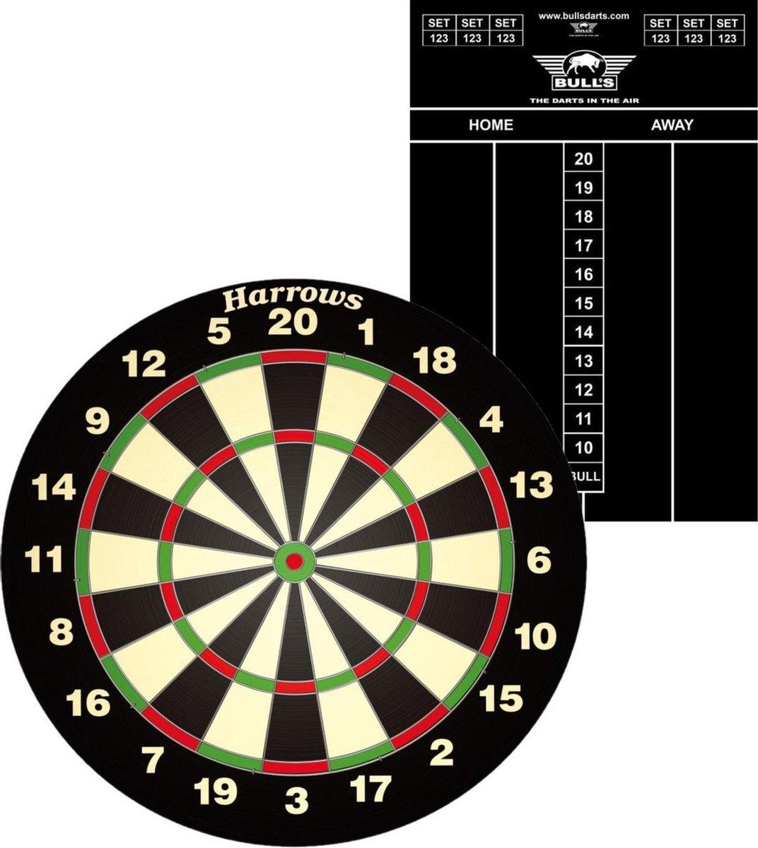 Dartbord Harrows set compleet van diameter 45 cm met 6 dartpijlen en een krijt scorebord 45 x 30 cm