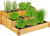relaxdays moestuinbak 3 etages - kruidenbak tuin - kweekbak hout - kruidenbak balkon