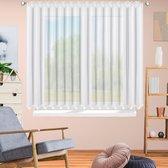 Nieuw Vitrage ( net curtain ) van hoogwaardig voile-materiaal , kant en klaar vitrage Gordijn -Vitrage met Wit satijn Band -Wit - 300 x 150 cm + plooien band + Haakjes voor rail