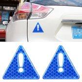 2 STKS Auto-Styling Driehoek Carbon Waarschuwing Sticker Decoratieve Sticker (Blauw)