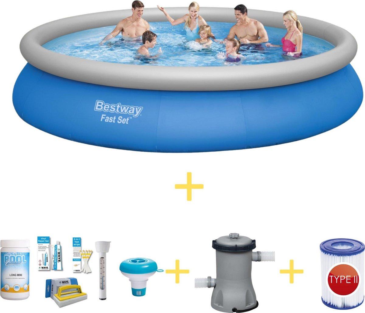 Bestway Zwembad - Fast Set - 457 x 84 cm - Inclusief WAYS Onderhoudspakket, Filterpomp & Grondzeil