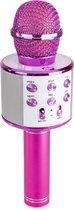 Karaoke microfoon - karaoke set - MAX KM01 draadloze karaokemicrofoon met ingebouwde speaker, Bluetooth, selfiefunctie mp3, echo effect & stemvervormer - Roze