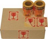 Etiket CleverPack - tekst breekbaar 80x100mm rood - 1 rol a 250 stuks