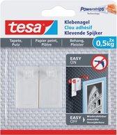 Tesa - 77772 -Klevende spijker voor behang en pleisterwerk - tot 0,5kg - 13mm groot - Transparant - 2 stuks