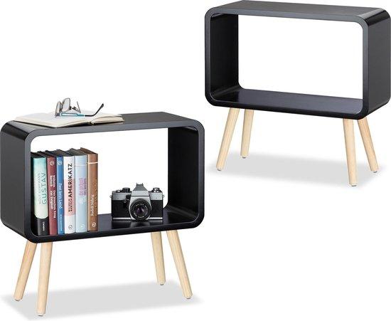 relaxdays 2er set opbergkubus klein - nachtkastje - bijzettafel modern – tafeltje - zwart