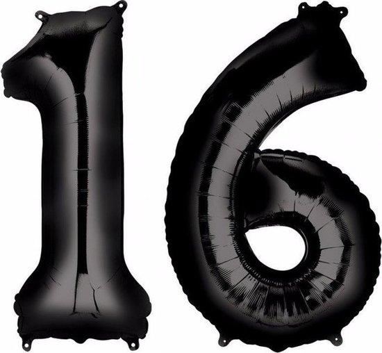 Sweet 16 zwarte folie ballonnen 88 cm leeftijd/cijfer 16 jaar - Leeftijdsartikelen 16e verjaardag versiering - Heliumballonnen