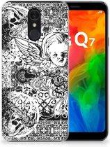 Silicone Back Case LG Q7 Skulls Angel