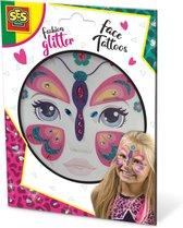 Fashion glitter gezicht tattoos (- Vlinder)