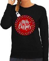Foute kersttrui / sweater zwart - kerstbal merry christmas voor dames - kerstkleding / christmas outfit L (40)