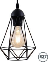 B.K.Licht retro hanglamp draad - E27 - zwart - Ø165mm - lengte: 1100mm