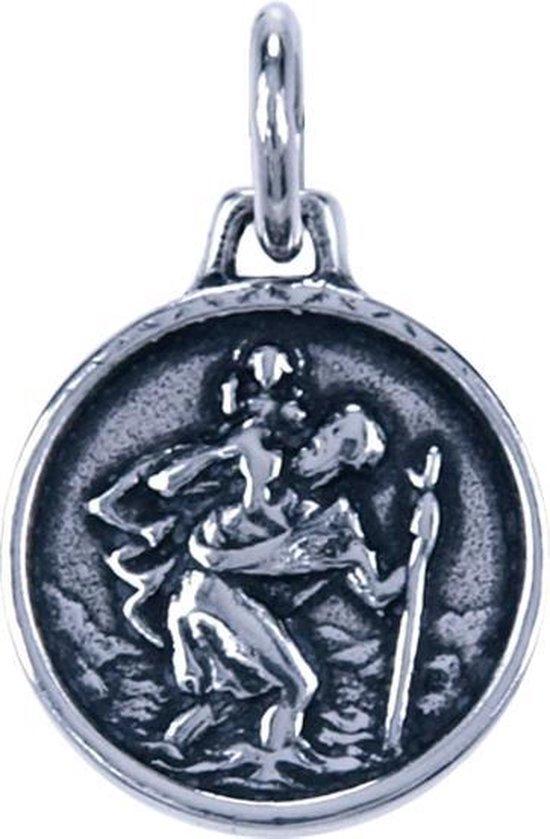 Zilveren Heilige Christoffel ketting hanger - rond