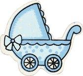 Kinderwagen, lichtblauw, afm 34x31 mm, dikte 1,7 mm, 10stuks