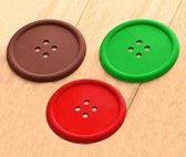 Set van 15 siliconen onderzetters (rood, groen, bruin)