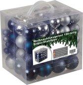 4seasonz kerstballenset - 120 stuks - Kunststof - Blauw/Zilver