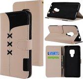 Let op type!! Stof stiksels borduurwerk horizontale Flip lederen draagtas met houder & kaartsleuven & portemonnee voor Huawei mate 20 (wit)