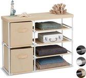 relaxdays ladekast stof - kastje met lades - opbergkast van stof - 2 manden 65x80.5x29 cm wit-beige