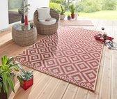 Binnen & Buiten vloerkleed ruiten vlakweef Summer - rood 70x140 cm