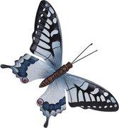 Tuin/schutting decoratie grijsblauw/zwarte vlinder 44 cm - Tuin/schutting/schuur versiering/docoratie - Metalen vlinders